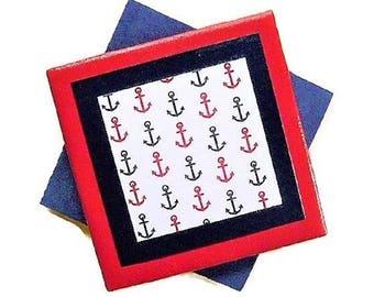 Anchor Coasters, Nautical Decor, Beach Decor, Blue and White Decor, Cabin Decor, Lake Decor, Red Home Accents, Blue Home Accents