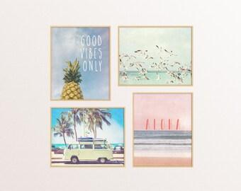 Set of Four Art Prints - Summer photography set - Wall Art - Bedroom - Apartment Decor - Boho beach- Typography - Gallery wall art prints