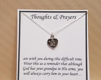 Loss of Grandfather Sympathy Gift Necklace Sterling Silver Cherub Angel Heart Pendant Grandpa Condolences