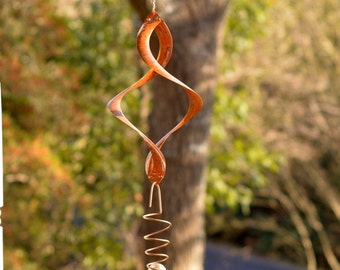 BreezeWay Helix Garden Wind Spinner with Copper Cyclone and Glass Ball |Wind Spinner|Copper Patinas|Kinetic Art|Copper Anniversary|metal art