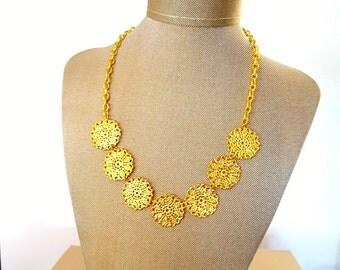 Golden Coin Statement Necklace