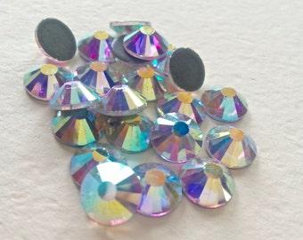 144 pcs., 720 pcs. or 7200 pcs./ AB Crystal SS20 Hot Fix (Hotfix) Iron On, Glue On, Heat Transfer Flat Back Crystal Rhinestones  5mm Pieces