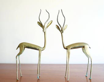 Pair of LARGE brass gazelle / antelope, 1970s / Africa sculpture boho chic couple lovers folk tiki savannah tropical bohemian animal desert