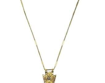 Gold Metal Cosmic Crystal Quartz Arrowhead Bohemian Necklace