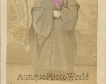 Arab woman in niqab antique hand tinted CDV photo by Sebah