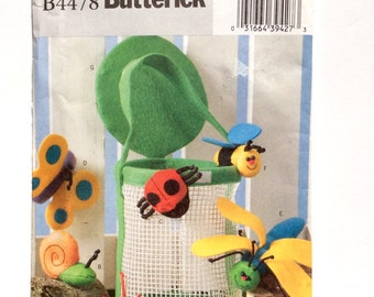 Butterick B4478, Bug Basket, Finger Puppets, Snail, Spider, Ladybug, Butterfly Dragonfly, Bee Puppet, Soft Stuffed Toy Pattern, Uncut
