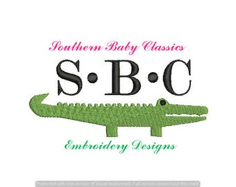 Gator Alligator Crocodile Long Skinny Fill Design File for Embroidery Machine Monogram Add On Instant Download