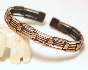 Mens Copper Bracelet / Mens Bracelet / Mens Cuff Bracelet Copper / Mens Jewelry / Wire Wrapped Bracelet / Wire Wrapped Jewelry Handmade