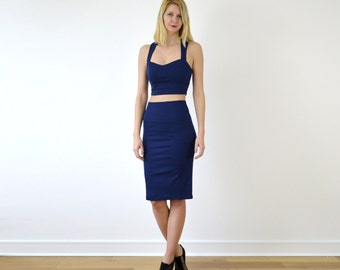Blue pencil dress  Etsy