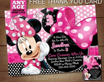Minnie Mouse Birthday Invitation, Pink Minnie Mouse Birthday Invitation, diy, Chalkboard Minnie Mouse Invitation, Printable