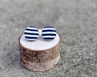 Striped Fabric Button Earrings // Navy and White // Nautical Earrings // Vintage Earrings // Covered Buttons // Fabric Studs // Blue