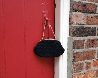 1950s handbag / 50s purse / vintage evening bag / black crepe purse / 1950s accessories