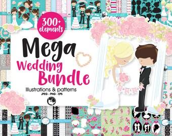 80% OFF SALE Wedding Mega BUNDLE graphic set,  wedding clipart commercial use, floral clipart,vector graphics,digital images,  prettygrafik