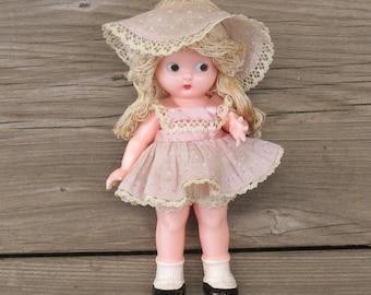 Vintage Kewpie Doll, Vintage Rattle, Hard Plastic Rattle Doll by Knickerbocker Doll Co.