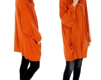 HS100OR tunic layered look shirt asymmetrical Gr. 40-52 orange