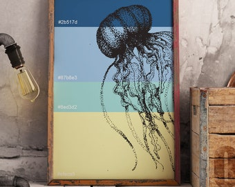 Jellyfish Ocean Colour Pantone Swatch Poster