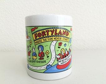 Funny Fortyland Shoebox Greetings Mug/ Humor Collectible Age Mug