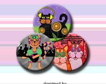 COOL CATS  -  Digital Collage Sheet - 5 sizes - round images for bottle caps, pendants, round bezels, etc. Instant Download #235.