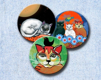 WHIMSICAL CATS  -  3 inch circles Digital Collage Sheet for Magnets, Paper Weights, Pocket Mirrors, Gift tags etc.  Instant Download #246.