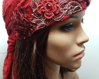 Burgundy Floral Tichel , Floral Chemo Cap , Dark Red Gold Head Scarf , Hair Snood , Jewish Hair Covering , Headscarves , Mitpachat