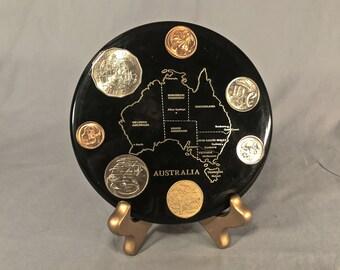 1980's Australian Resin-Set Coin Map
