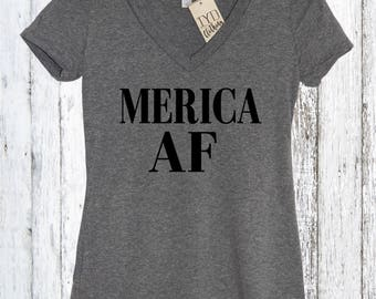 Merica AF Womens V Neck, America, Fourth of July, Memorial day, 4th of July, American Flag, Summer Tank Top, Beaches, Pool, American, Lake