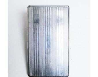 Vintage Cigarette Case holder in silver metal, card case, engine turned design, mad men, smoker,