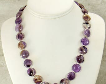 Purple Amethyst Necklace, Handmade Statement Necklace, Amethyst Gemstone Necklace, Bead Necklace, Purple Jewelry, Bib Necklace