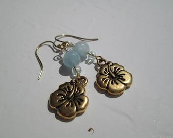 Aquamarine and Golden Hibiscus earrings