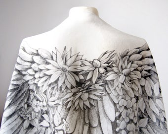 Silk scarf ANGEL WINGS - scarf hand drawn - black and white scarves - feather scarf - Art Nouveau scarf - angelic scarf - OOAK scarf