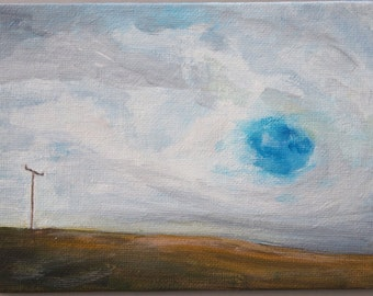 Sky Hole Painting Cloudscape Landscape Original Art Blue Yellow Ochre Acrylic on Canvas Board Small Skyscape