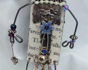 Steampunk Budda,Recycled Art,Fantasy Art,Wearable Art,Whimsical Jewelry,Reclaimed,Storyteller Art Pin,Assemblage Art,Trash to Treasure