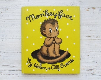 Monkeyface Book . 1946 . Helen & Alf Evers . Rand McNally . First Edition . Vintage Monkey Book . 1940's Children's Book . Retro Kid's Story