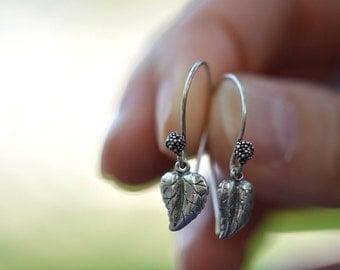 SALE Leaf Earrings Sterling Silver Earrings Silver Leaf Earrings Everyday Earrings Minimalist Earrings Gardener Natural Earrings Little Girl