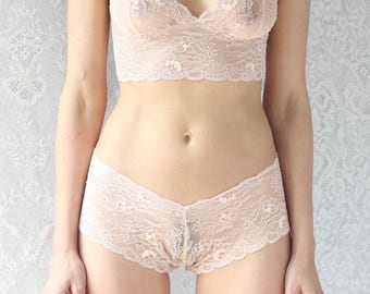 Lingerie Set in Sheer Peach Lace bralette and french knickers. Delicate lace intimates underwear from Brighton Lace