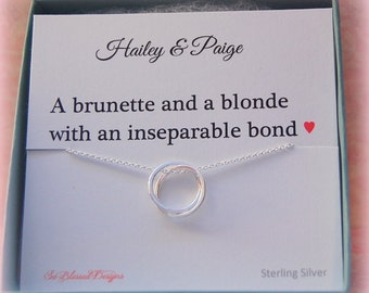 Personalized Best Friend necklace, Sterling Silver, Gift for her, Eternity necklace, double rings, Friendship jewelry, Bridesmaid gifts