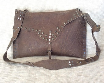 Vintage custom made studded taupe leather flap messenger bag crossbody