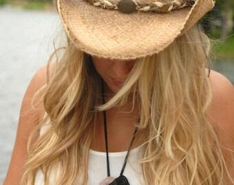 Black Leather necklace, Rose Quartz necklace,