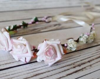 Blush and Ivory Flower Crown - Light Pink Flower Wreath - Ribbon Tiara - Flower Tiara - Adult Headband - Bridal Flower Crown -Blush Tie Back