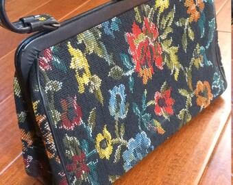black Tapestry Handbag, Leather Trimmed Purse, Large tapestry Purse, Flower Vintage Handbag, 1960's Tapestry Purse, Leather trimmed Handbag