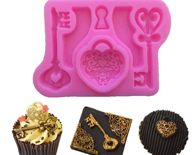SALE Key Heart Lock Silicone Mold - Baking Fondant Happy Birthday Party Royal Icing Chocolate