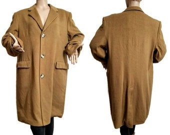 Cashmere Coat Men's Camel Size US 44R 108R UK Made in England Guards S. Schneiders and Son