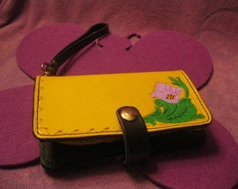 YELLOW LEATHER PHONE Wallet with Pink and Purple Flowers