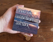 I Love You to the Beach and Back, 4 x 4 inch Wood Art Sign, beach cottage decor, apartment decor, small gifts, gifts under 20, gifts for her