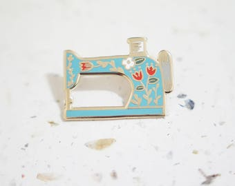 Light Blue Sewing Machine Enamel Pin // Hard Enamel - Enamel Pin - Pin - Lapel Pin - Flair - Brooch - Collar Pin - By Justine Gilbuena