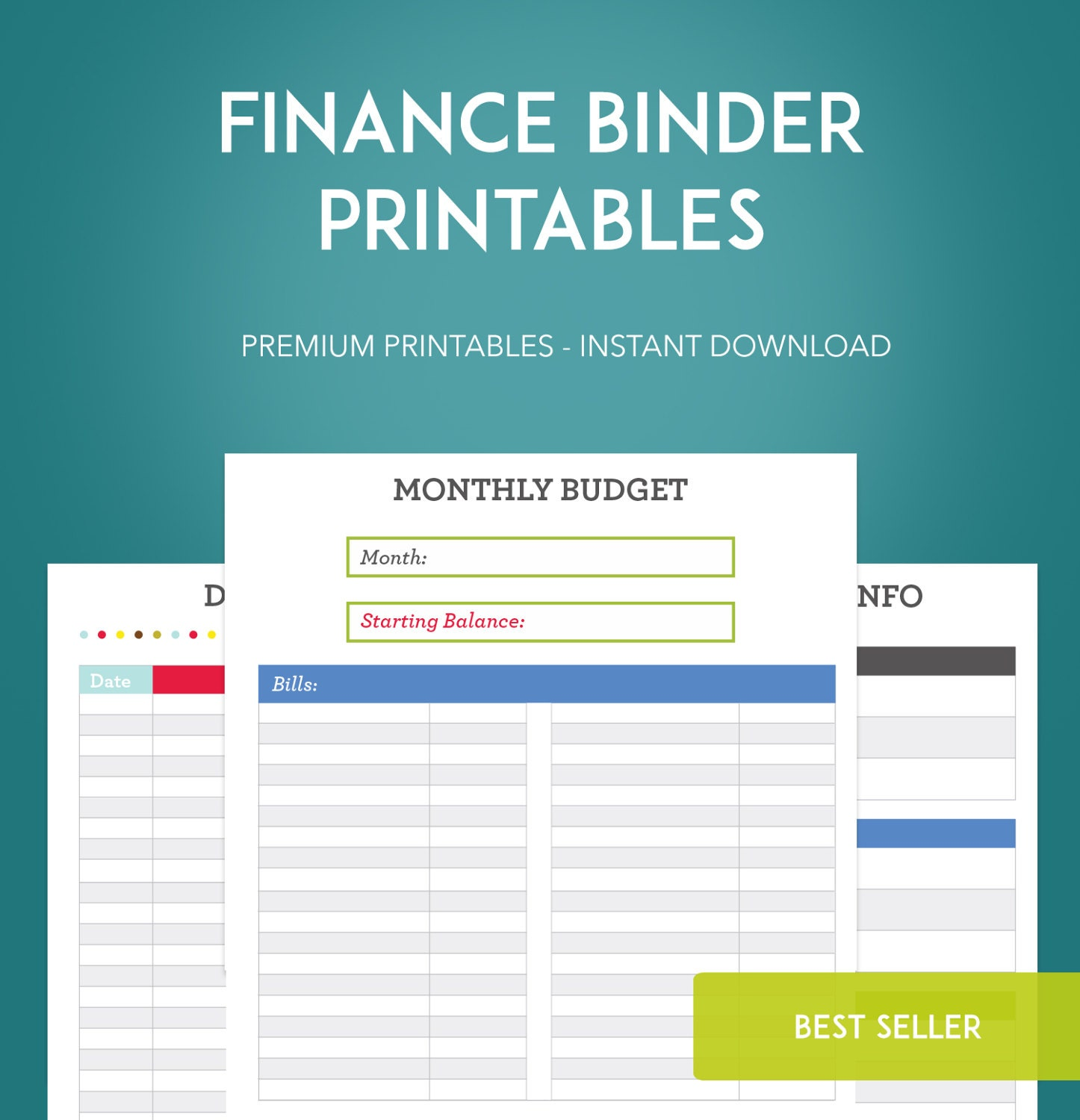 Finance: Finance Binder PDF Printable Pages INSTANT DOWNLOAD Budget