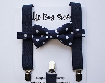 Navy Suspenders Navy Polka Dot Bow Tie for Boys, 1st Birthday Boy, Ring Bearer Outfit, Boys Suspenders Bow Tie, Wedding, Boys Formal Wear