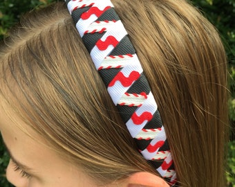 Baseball Red / White / Black Woven Ribbon 1 Inch Headband