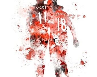 Ryan Giggs and Paul Scholes ART PRINT illustration, Manchester United, Football, Wall Art, Home Decor, Red Devil