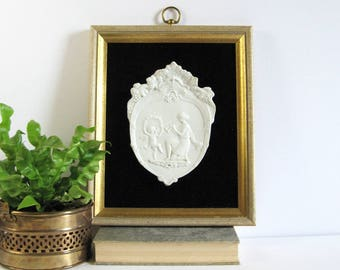 Bacchus Cherub - Vintage White Porcelain Relief Medallion Plaque - Black Velvet Decor - Wine Grape Garland - Gold Framed Art - Winery Decor